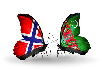 Two butterflies with flags Norway and Turkmenistan