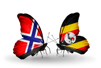 Two butterflies with flags Norway and Uganda