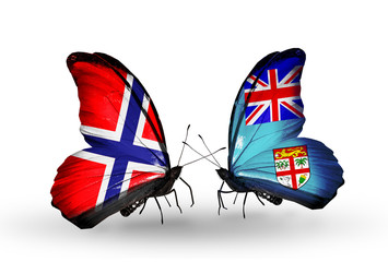 Two butterflies with flags Norway and Fiji