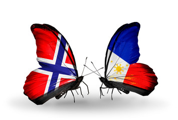 Two butterflies with flags Norway and Philippines