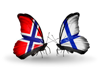 Two butterflies with flags Norway and Finland