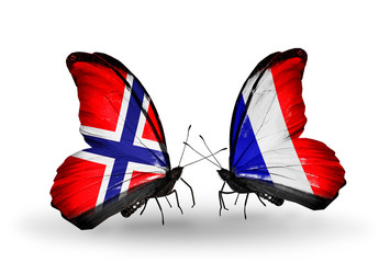 Two butterflies with flags Norway and France