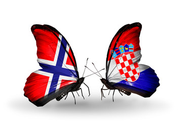 Two butterflies with flags Norway and Croatia