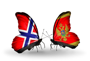 Two butterflies with flags Norway and Montenegro