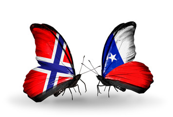 Two butterflies with flags Norway and Chile