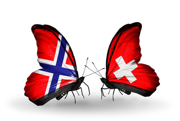 Two butterflies with flags Norway and Switzerland