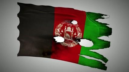 Afghanistan perforated, burned, grunge waving flag loop alpha