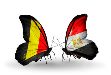 Two butterflies with flags Belgium and Egypt