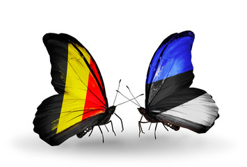 Two butterflies with flags Belgium and Estonia