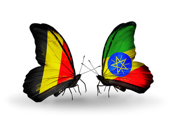 Two butterflies with flags Belgium and Ethiopia