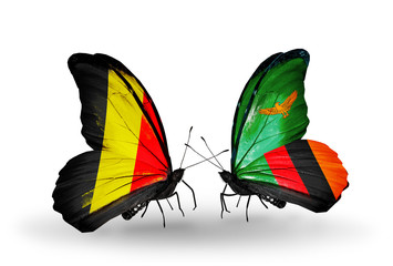 Two butterflies with flags Belgium and Zambia
