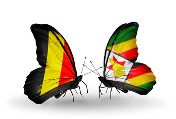 Two butterflies with flags Belgium and Zimbabwe