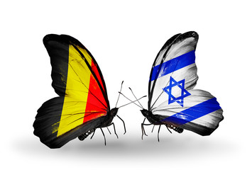 Two butterflies with flags Belgium and Israel