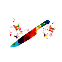 Colorful kitchen knife design with butterflies