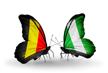 Two butterflies with flags Belgium and Nigeria