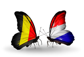 Two butterflies with flags Belgium and Holland