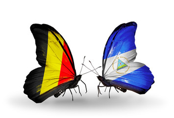 Two butterflies with flags Belgium and Nicaragua