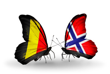 Two butterflies with flags Belgium and Norway
