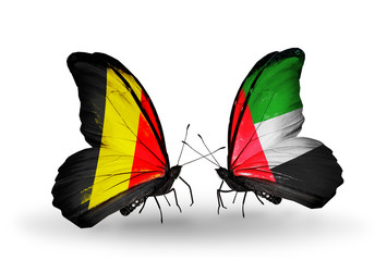 Two butterflies with flags Belgium and UAE