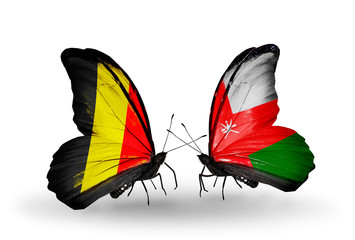 Two butterflies with flags Belgium and Oman