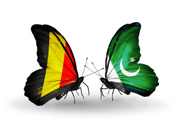 Two butterflies with flags Belgium and Pakistan