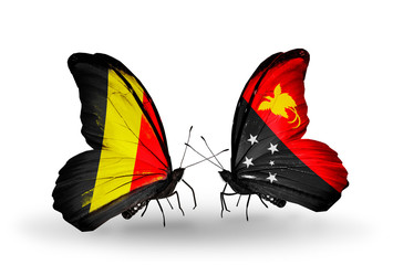 Two butterflies with flags Belgium and Papua New Guinea