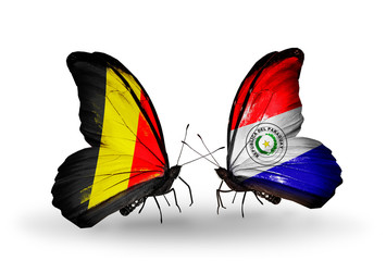 Two butterflies with flags Belgium and Paraguay
