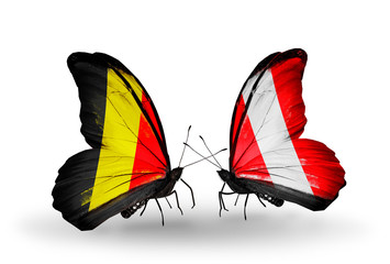 Two butterflies with flags Belgium and  Peru