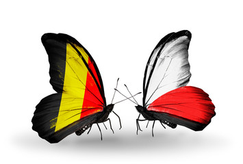 Two butterflies with flags Belgium and  Poland