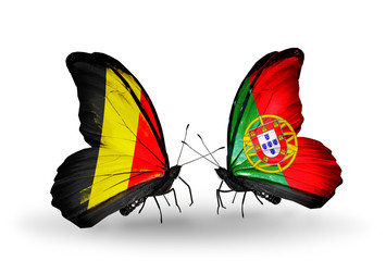 Two butterflies with flags Belgium and Portugal