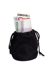 Black bag with money over white