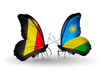 Two butterflies with flags Belgium and Rwanda