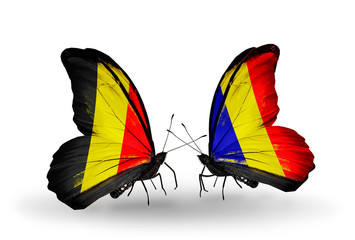 Two butterflies with flags Belgium and Chad, Romania