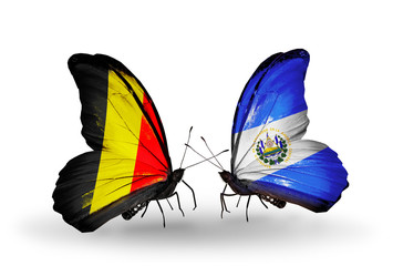 Two butterflies with flags Belgium and  Salvador