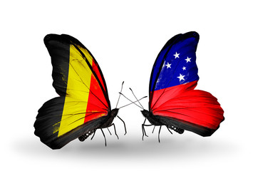 Two butterflies with flags Belgium and Samoa