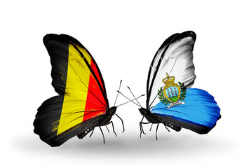 Two butterflies with flags Belgium and San Marino