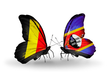 Two butterflies with flags Belgium and  Swaziland