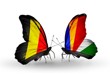 Two butterflies with flags Belgium and Seychelles