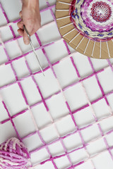 Colored woolen yarns
