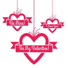 Heart shape hang tags set with greetings.