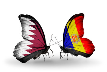 Two butterflies with flags Qatar and Andorra