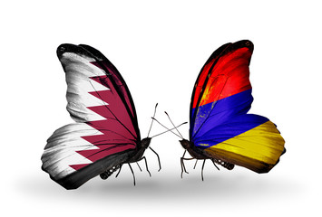 Two butterflies with flags Qatar and Armenia