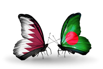 Two butterflies with flags Qatar and Bangladesh