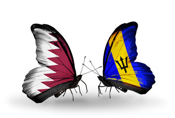 Two butterflies with flags Qatar and Barbados