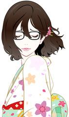 眼鏡の着物女性 風 悲しむ