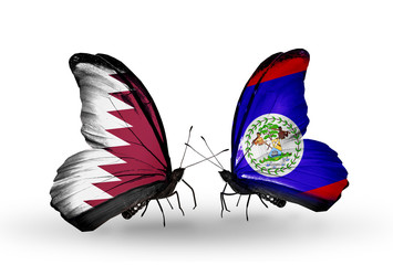 Two butterflies with flags Qatar and Belize