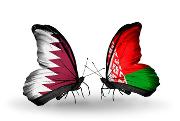 Two butterflies with flags Qatar and Belarus