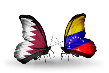 Two butterflies with flags Qatar and Venezuela
