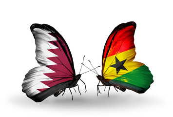 Two butterflies with flags Qatar and Ghana
