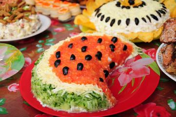 watermelon dish on setout